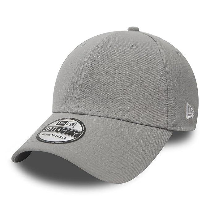 New Era Grey Grau Blank Stretch Fit Cap 3930 39thirty Curved Visor L ... 5348b219470