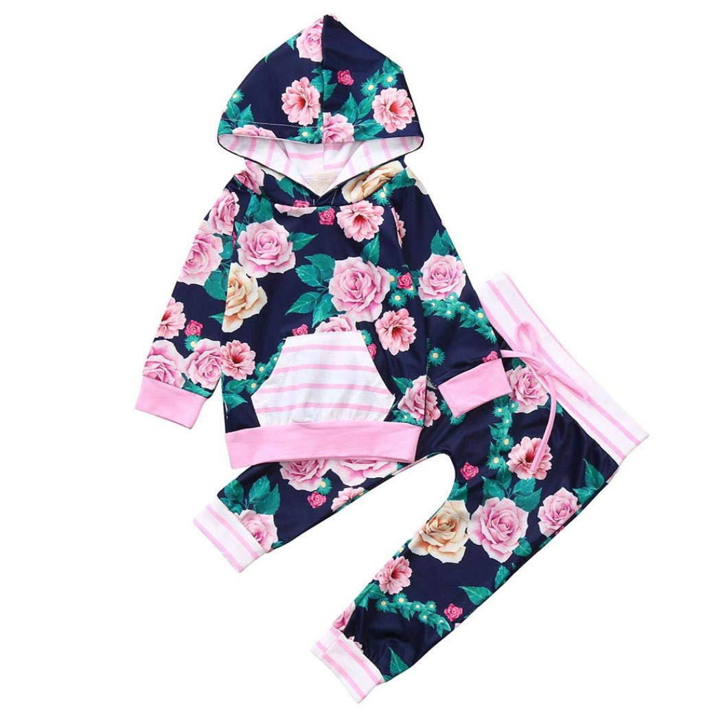Newborn Girl Floral Hoodie Sets,Jchen(TM) Infant Baby Boys Girls Long Sleeve Hooded Tops Floral Print Pants Autumn Outfits 0-24 Months (Age: 12-18 Months) by Jchen Baby Sets