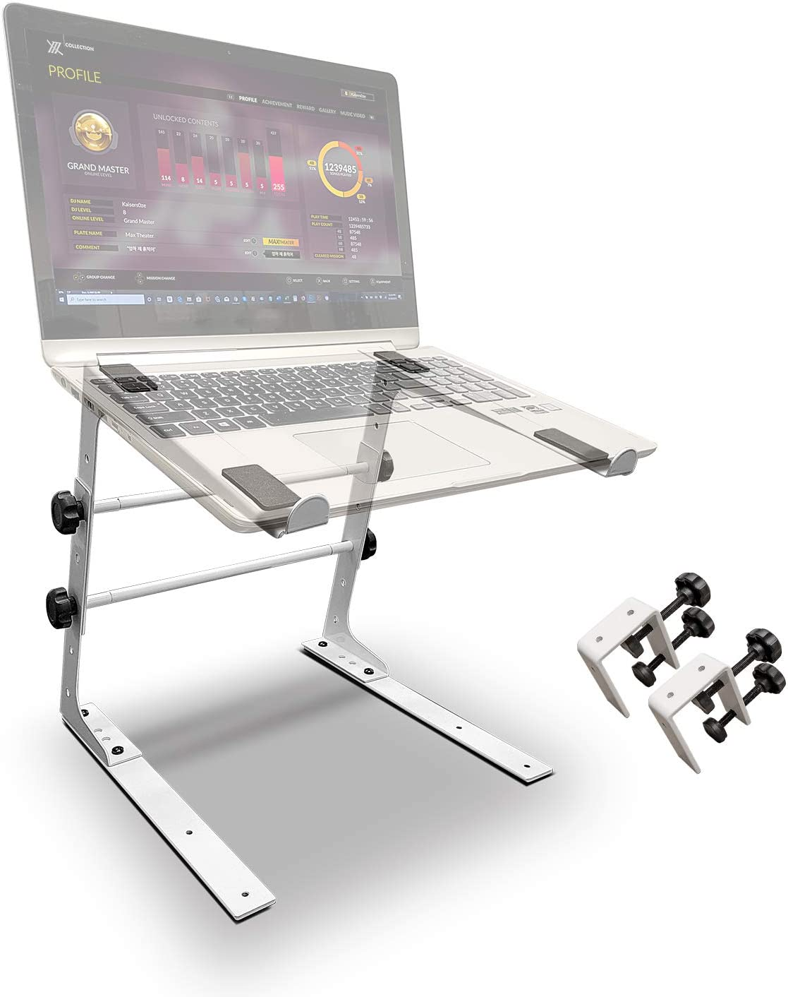 AxcessAbles LTS-02 DJ Laptop Table Stand with Adjustable Height/Width and Optional Table Clamps for DJ, Gaming, Streaming, Standing Desk, Desk