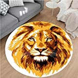 Nalahome Modern Flannel Microfiber Non-Slip Machine Washable Round Area Rug-of the Lion King Biggest Cat in Africa Icon Animal in Tropics Artwork Theme Orange White area rugs Home Decor-Round 75''