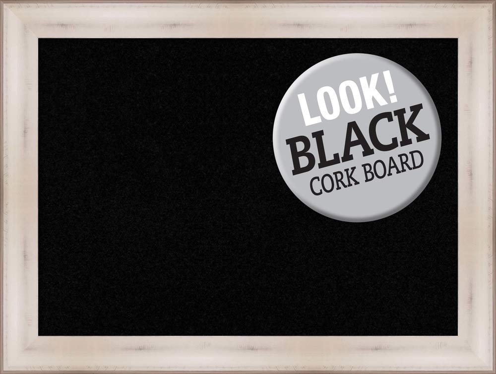 Amanti Art Black Cork Allure White Framed Bulletin Boards, 33 x 25,