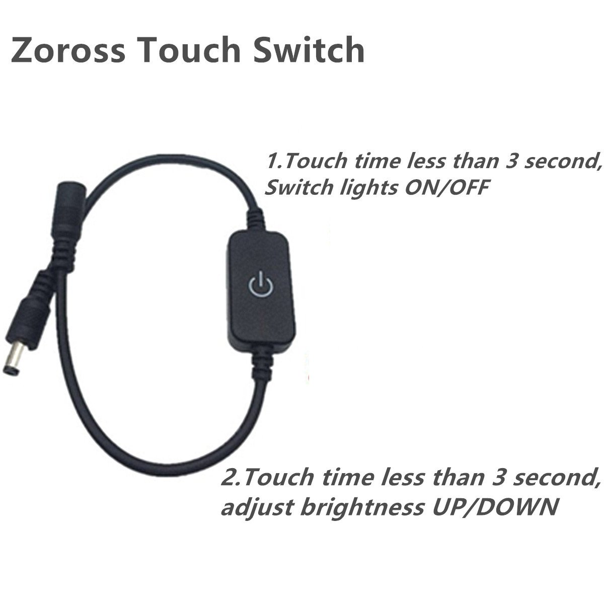 Zoross Touch Switch Bed Lights Led Strip Light Kit White Color 300LEDs on 16.4Ft (5M) Mirror Light 3A Power Supply for House Decoration Armoire and Bed Lighting (White) by Zoross (Image #3)
