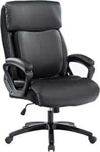 BOSMILLER Office Chair High Back Computer Chair Ergonomic Desk Chair, PU Leather Adjustable Height Modern Executive Swivel Task Chair with Padded Armrests and Lumbar Support,Black … (9080-BLACK)