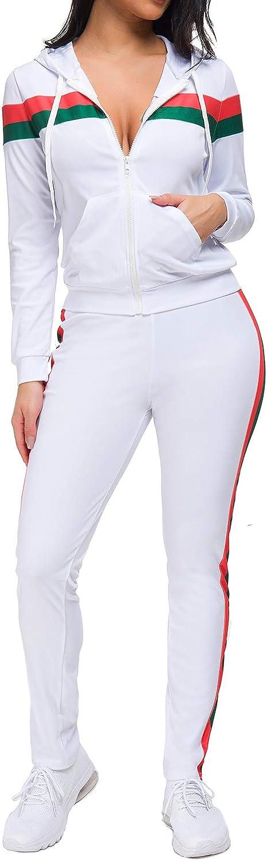 con felpa con zip intera e cappuccio e pantalone Fantasy Closet Tuta da donna a 2 pezzi in velluto a righe