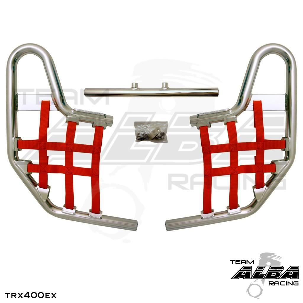 Alba Racing Honda TRX 400EX SPORTRAX (1999-2014) Standard Nerf Bars Silver Bars w/Deep Red Net