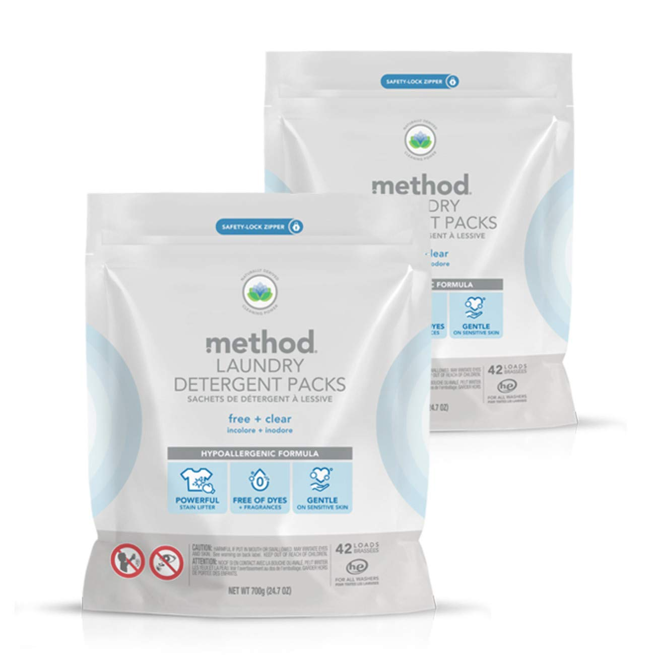 Method Laundry Detergent Packs, Free + Clear, 24.7 Ounce (Pack of 2)