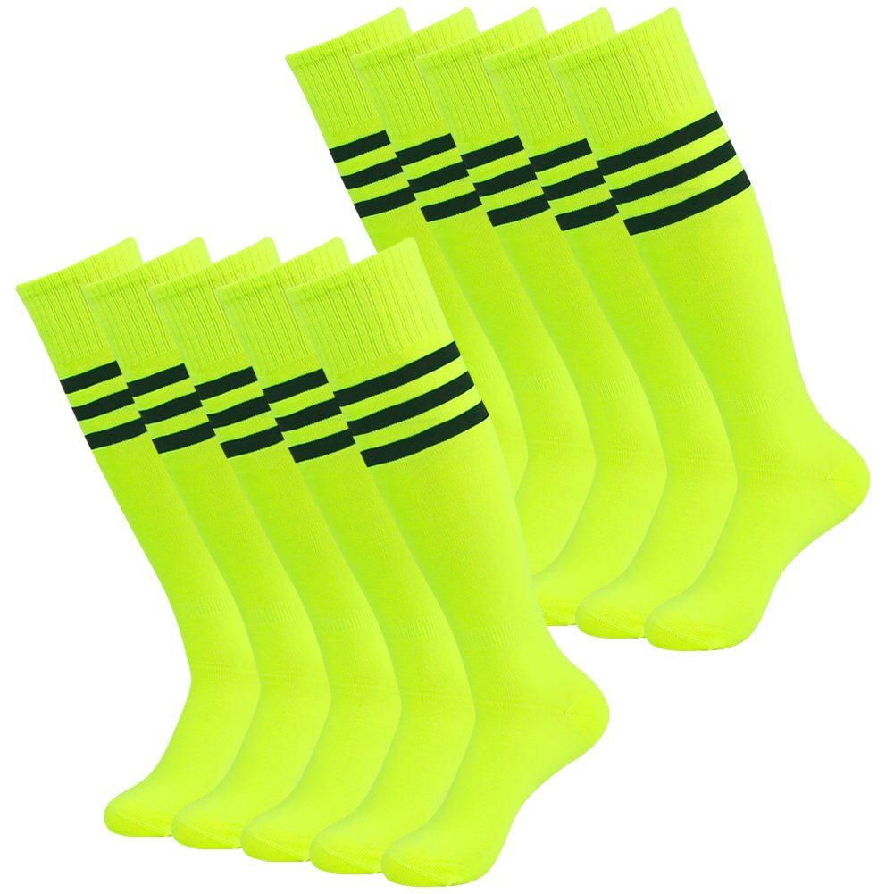 3street ユニセックス ニーハイ トリプルストライプ アスレチック サッカー チューブ ソックス 2 / 6 / 10組 B01IQJ4692 10#Neo yellow+black stripe 10#Neo yellow+black stripe