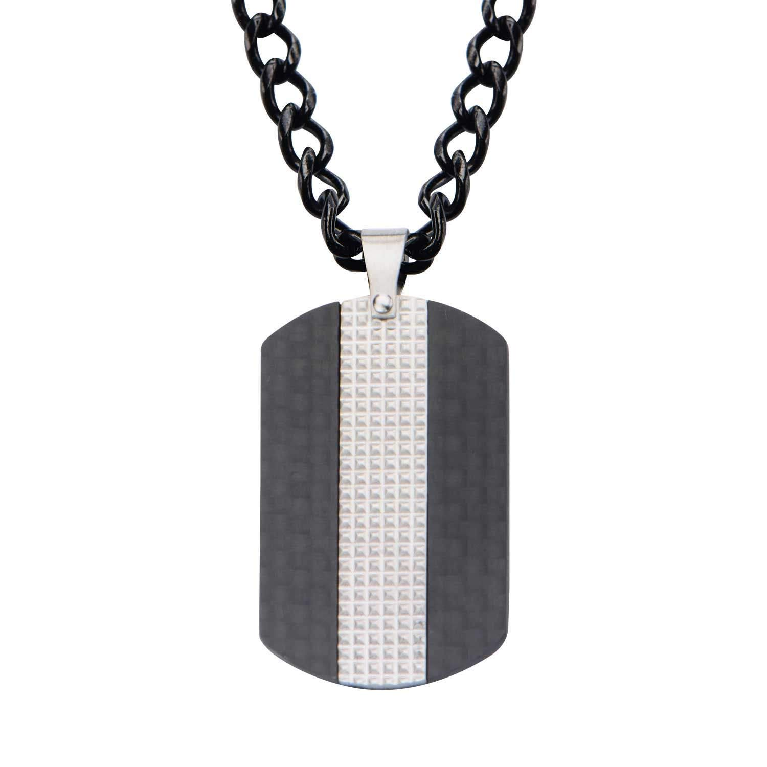 Rare Hills Black Plated in Solid Carbon Fiber Dog Tag Pendant with Chain