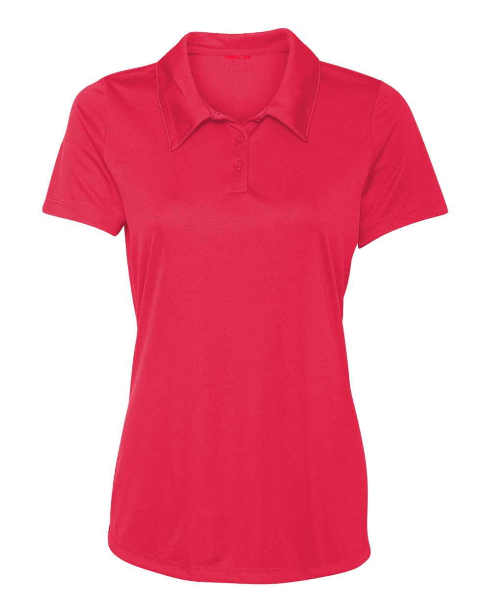 Animal Den Women's Dry-Fit Golf Polo Shirts 3-Button Golf Polo's in 20 Colors XS-3XL Shirt RED-XS
