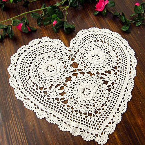 "TideTex 2Pc Beautiful Cordate White Hollow Out Tablecloth Placemats Doilies Lovely Floral Handmade Crochet Table Cloth Cup Pads Vase Pads Lace Crochet Decoration Mats (12""x11"", White)"