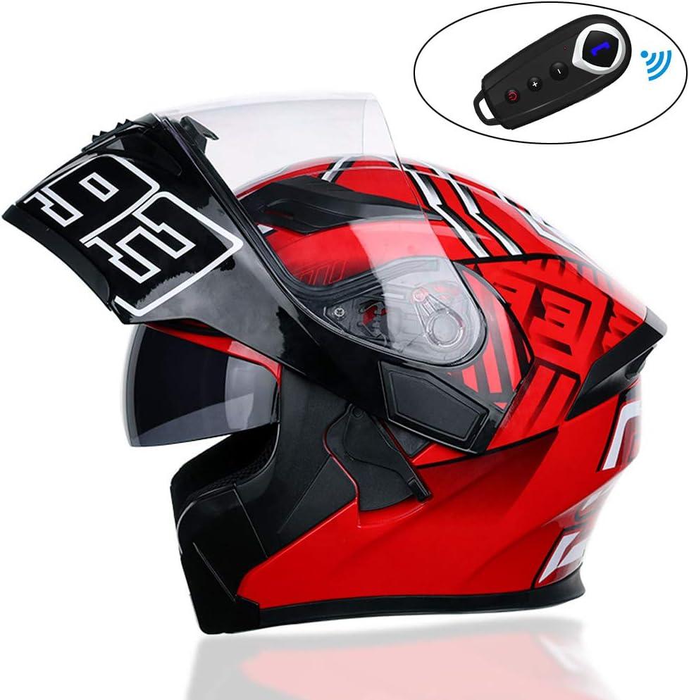 CHUDAN Herren Motorradhelm Klapphelm Mit Bluetooth Headset DOT-Zertifizierter Rot Professioneller Motorrad Integralhelm Helm Doppelvisier Off Road Helm Mit Sonnenblende