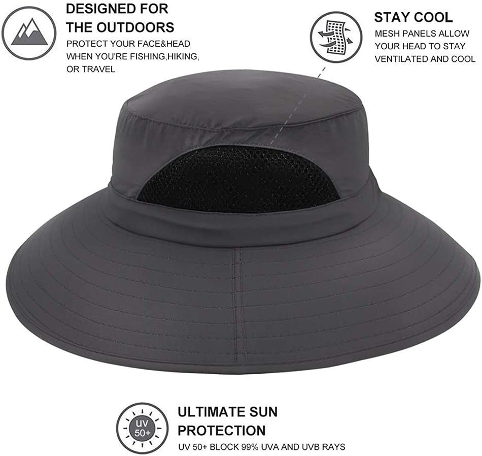 Fairylove Fisherman Bucket Cap Boonie Hat Waterproof Wide Brim Sun Visor Hat Breathable Mesh Anti UV Protection with Adjustable Chin Cord Unisex Outdoor Fishing Travel Camping Hiking
