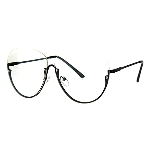 c078b52e5a085 Clear Lens Glasses Rimless Top Half Rim Womens Fashion Eyeglasses Black