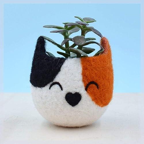 Small succulent pot cactus vase cat lover gift crazy cat lady calico cat Housewarming Gift mini planter indoor planter