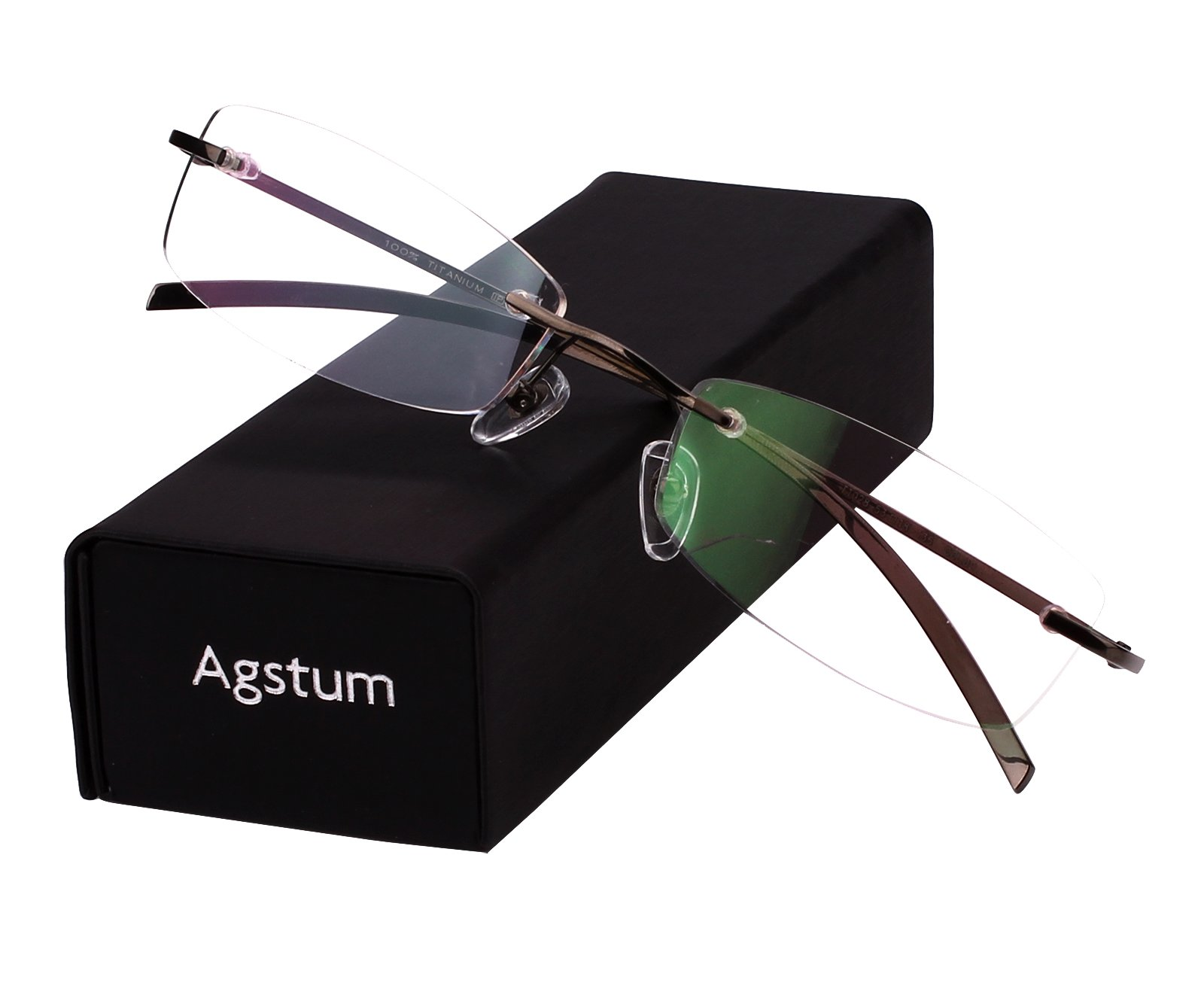 Agstum Pure Titanium Rimless Glasses Prescription Eyeglasses Rx (Gray, 53)