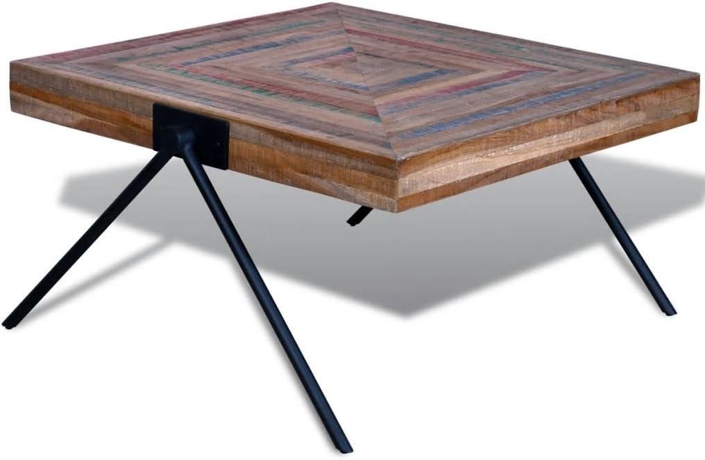 Tidyard Tavolino da caff/è Quadrato Basso in Legno Recupero di Teak,Tavolino da Salotto Vintage Basso Quadrato Legno,Tavolino Basso,Tavolino Vintage,Tavolino Quadrato,Tavolino Laterale 80x80x43 cm