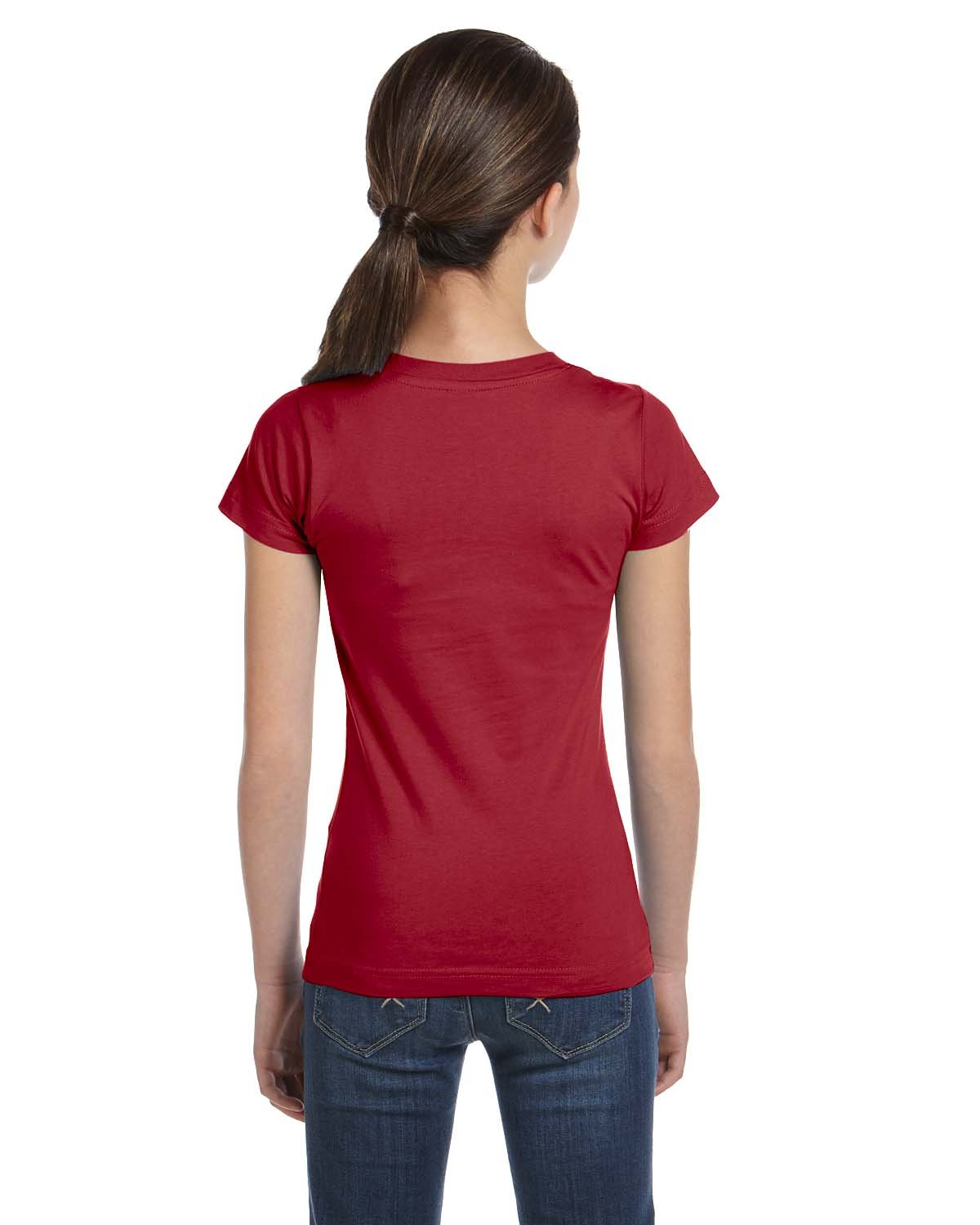 LAT Sportswear Girl's Fine Jersey Longer-Length T-Shirt, Garnet, X-Large by LAT (Image #1)