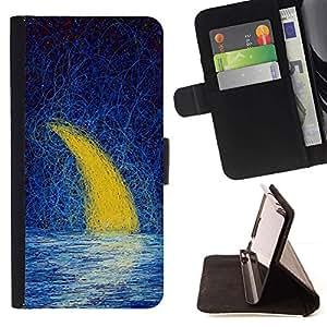 Momo Phone Case / Flip Funda de Cuero Case Cover - Luna Creciente pintura al óleo Mar del cielo nocturno - Apple Iphone 5C