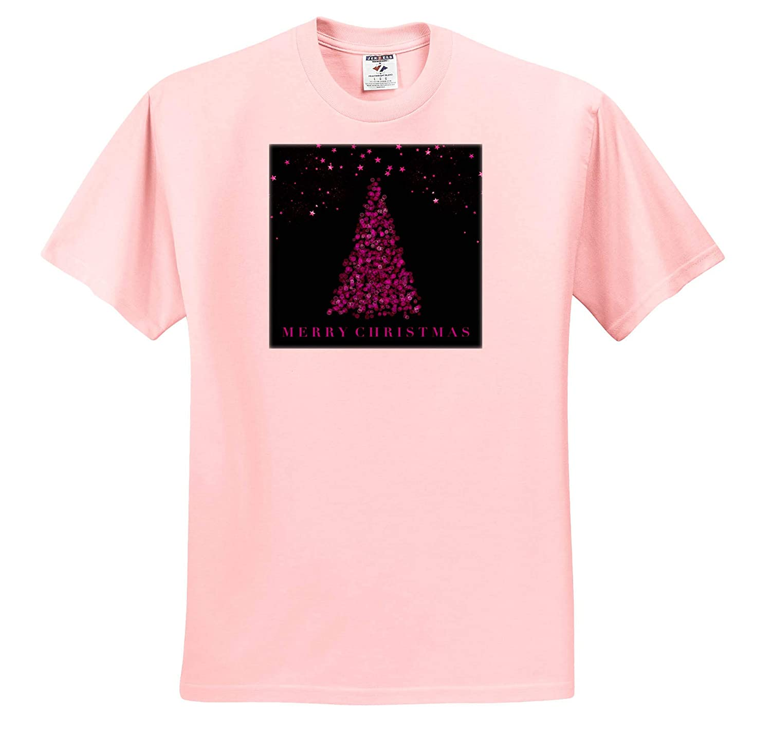 Modern Christmas Tree Design in Pink and Black 3dRose Andrea Haase Christmas Illustration T-Shirts