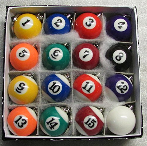 16 Pool Ball Keychains - 1.25 Inch w CUE Que Box of 16 POOL BALLS Billiard Snooker KEY CHAIN Ring Keychains NEW