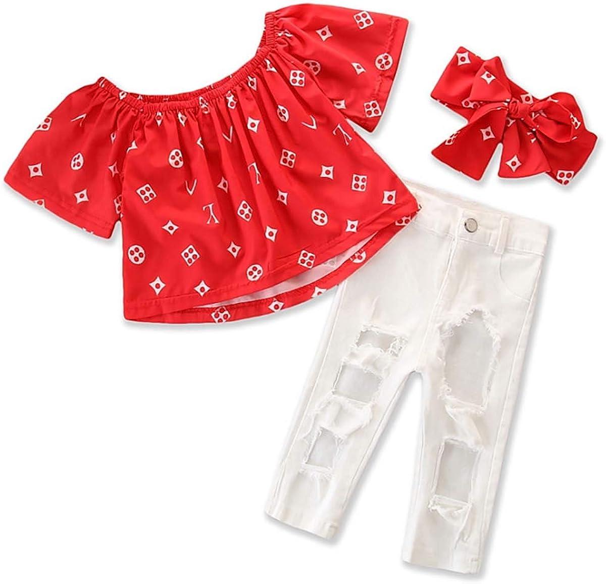 Kleinkind Kinder Baby M/ädchen Mode Druck Shirt Rot Off-Schulter Top Stirnband Outfits L/ässig T-Shirt Jeans Sommer Kleidung 3Pcs Sets Wei/ße Jeans Zerrissene Hose