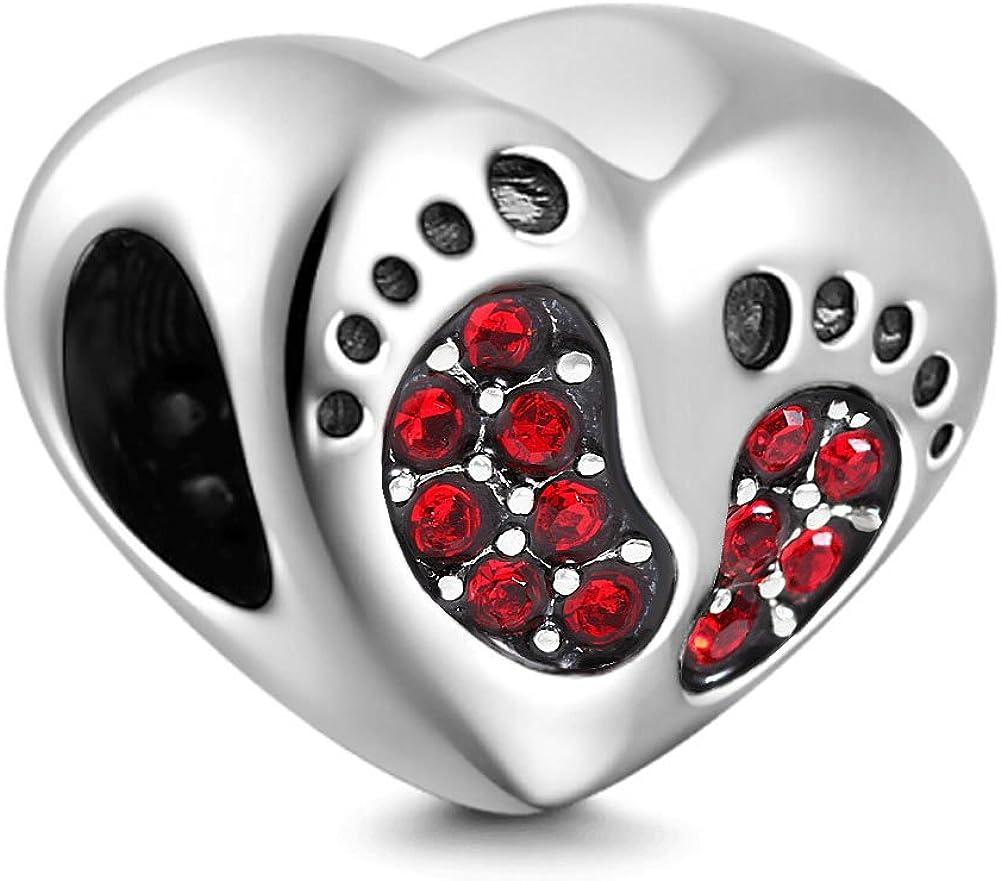portant des empreintes de pas de b/éb/é avec des perles en argent sterling 925. Pierre porte-bonheur en cristal en forme de c/œur