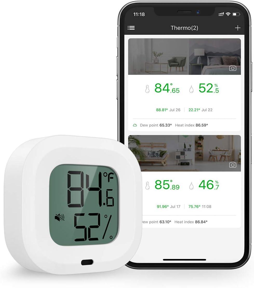 Brifit Higrómetro Termómetro Bluetooth, Sensor Inalámbrico Preciso de Monitoreo de Temperatura de Humedad, Alcance 35m, Pantalla en Teléfono iOS o Android a Través de Aplicación, para Hogar, Oficina