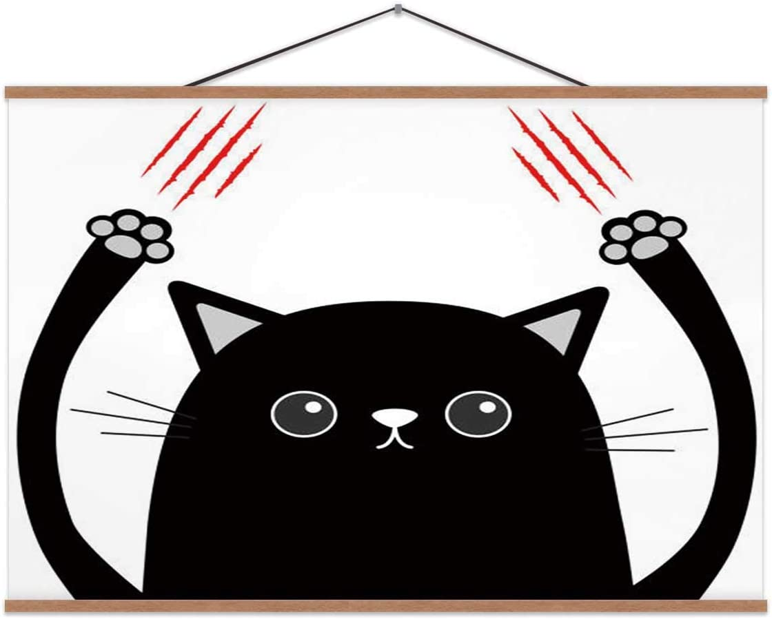 Amazon Com Hoveniacis Cartoon Black Cat Claw Ing Red Bloody Funny Face Eyes Poster Nose For Decor 24x12in Home Kitchen