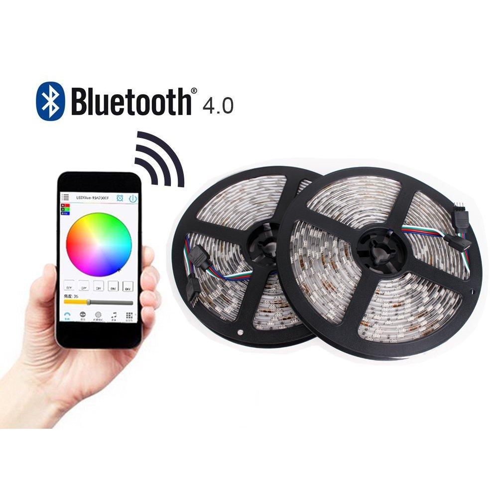 ELlight 32.8ft/10M 600Leds Bluetooth Smartphone App Controlled RGB LED Strip Light Kit, Waterproof IP65, Multi Color Changing SMD5050 LED Light, for iPhone Android