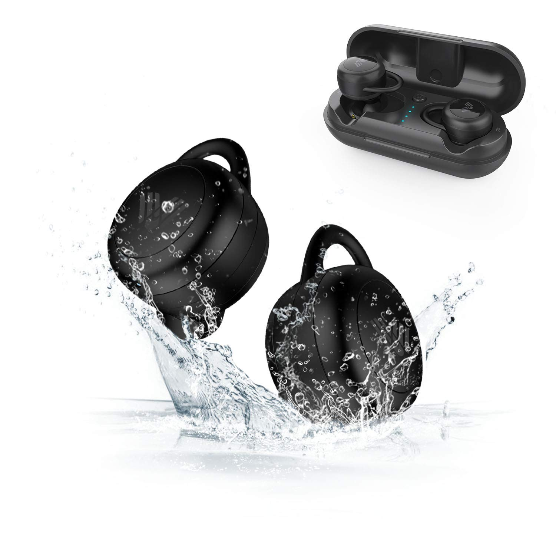 SAVFY Auriculares Bluetooth, IPX 5 Impermeable Auriculares Inalá mbricos Esté reo In-Ear Bluetooth Manos Libres con Micró fono y 300mAH Caja de Carga para iPhone y Otros Smart Phones, Negro BTD0177BK
