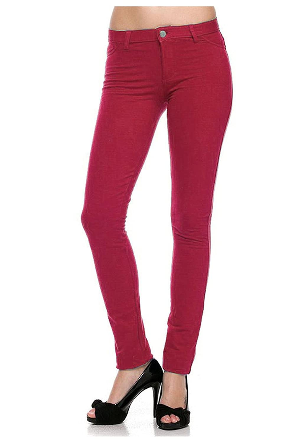 G2 Chic Women's Buttoned Stretchy Cotton Slim Fit Skinny Pants