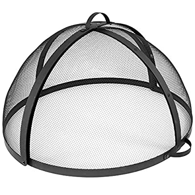 Sunnydaze Easy-Opening Fire Pit Spark Screen Cover Accessory - Outdoor Backyard Heavy-Duty Round Firepit Ember Arrester Lid with Hinged Door - 36 Inch