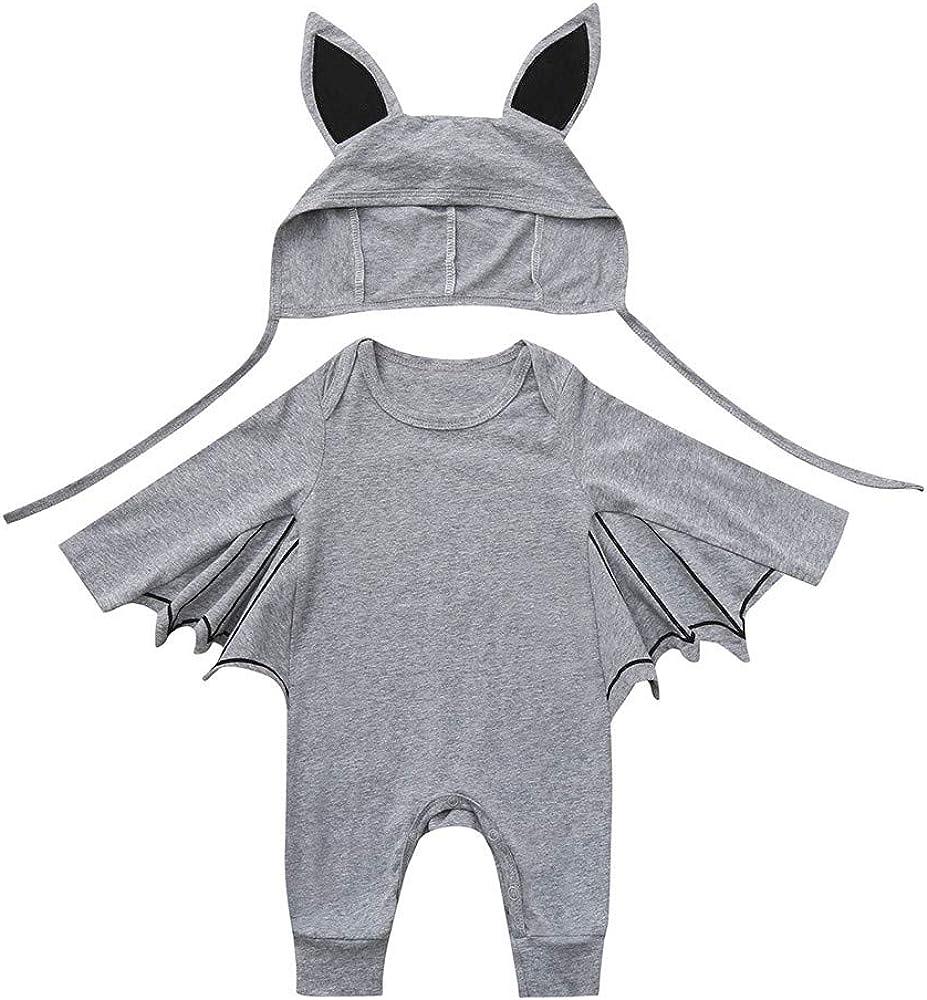 2pcs Neonato Pagliaccetto Completini Bambino Pipistrello Manica Body Baby Cosplay Tutine 3D Orecchio Cappello Halloween Costume Set