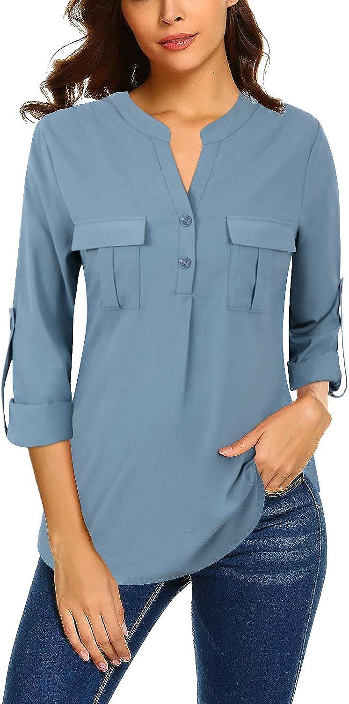Bulotus Women's V Neck Chiffon Blouse Business Casual Button Down Shirts: Clothing
