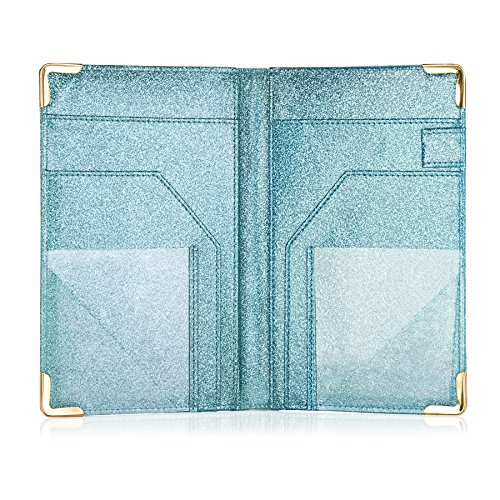 Sonic Server Dazzling Glitter Server Book and Waiter Waitress Organizer for Waitstaff   Aqua Turquoise Bling   10 Pockets Holds Guest Checks, Money, Receipts, Order Pad with Pen Holder Loop by Sonic Server (Image #2)