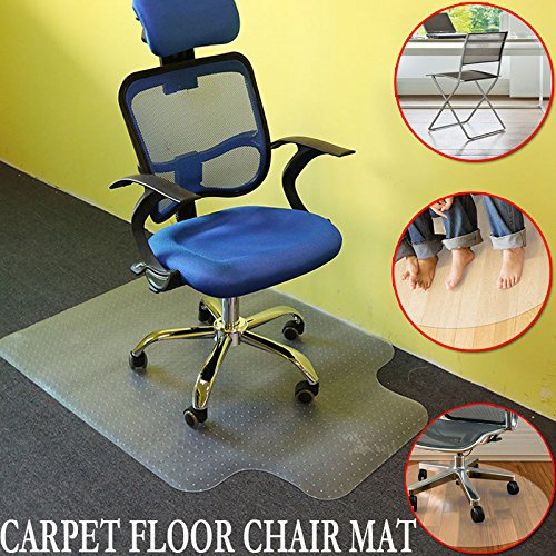 Office Chair Mat,48'' x 36''PVC Home Office Floor Mats for Chairs Studded with Lip 5mm Thick for Carpet by Estink