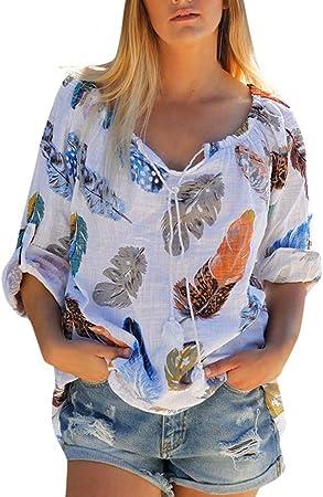 ღLILICATღ Camisa de Manga Largo de Anudado de Mujer,Tallas Grandes Camisetas Mujer Manga Largo Camisas Mujer Verano Elegantes Estampado de Moda Casual para Mujer Fiesta Playa: Amazon.es: Hogar