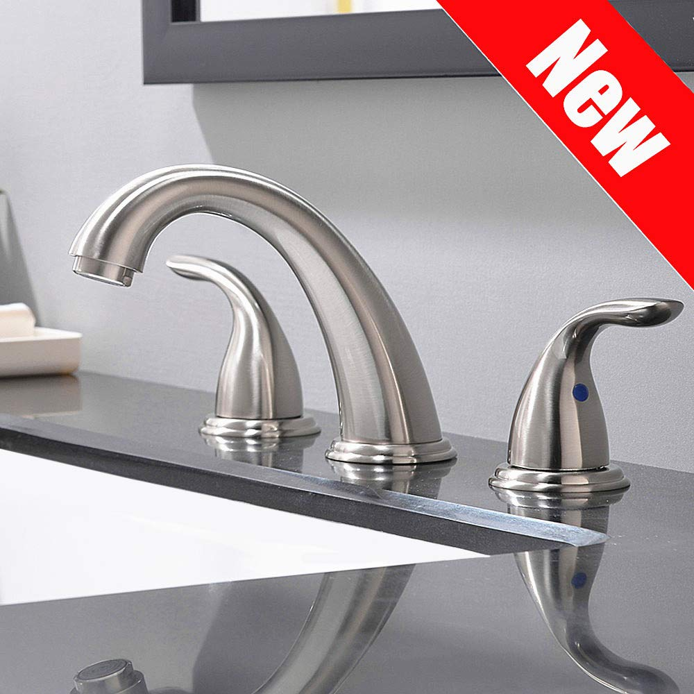 2 Handles 3 Holes Deck Mount Brushed Nickel Widespread Bathroom Faucet By Phiestina,With Stainless Steel Pop Up Drain, WF008-5-BN by Phiestina