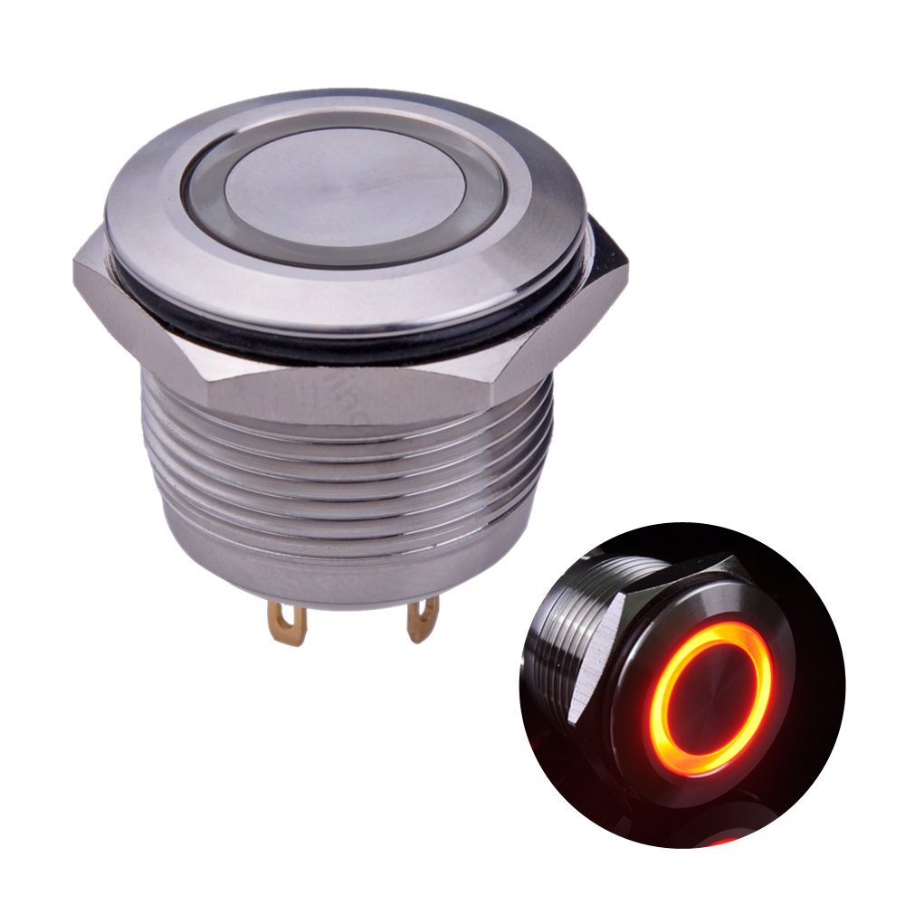 Ulincos Momentary Push Button Switch U19D1 1NO SPST Silver Stainless Steel Shell with Blue LED Ring Suitable for 19mm 3/4' Mounting Hole Pack with a Resistor U19D1SB
