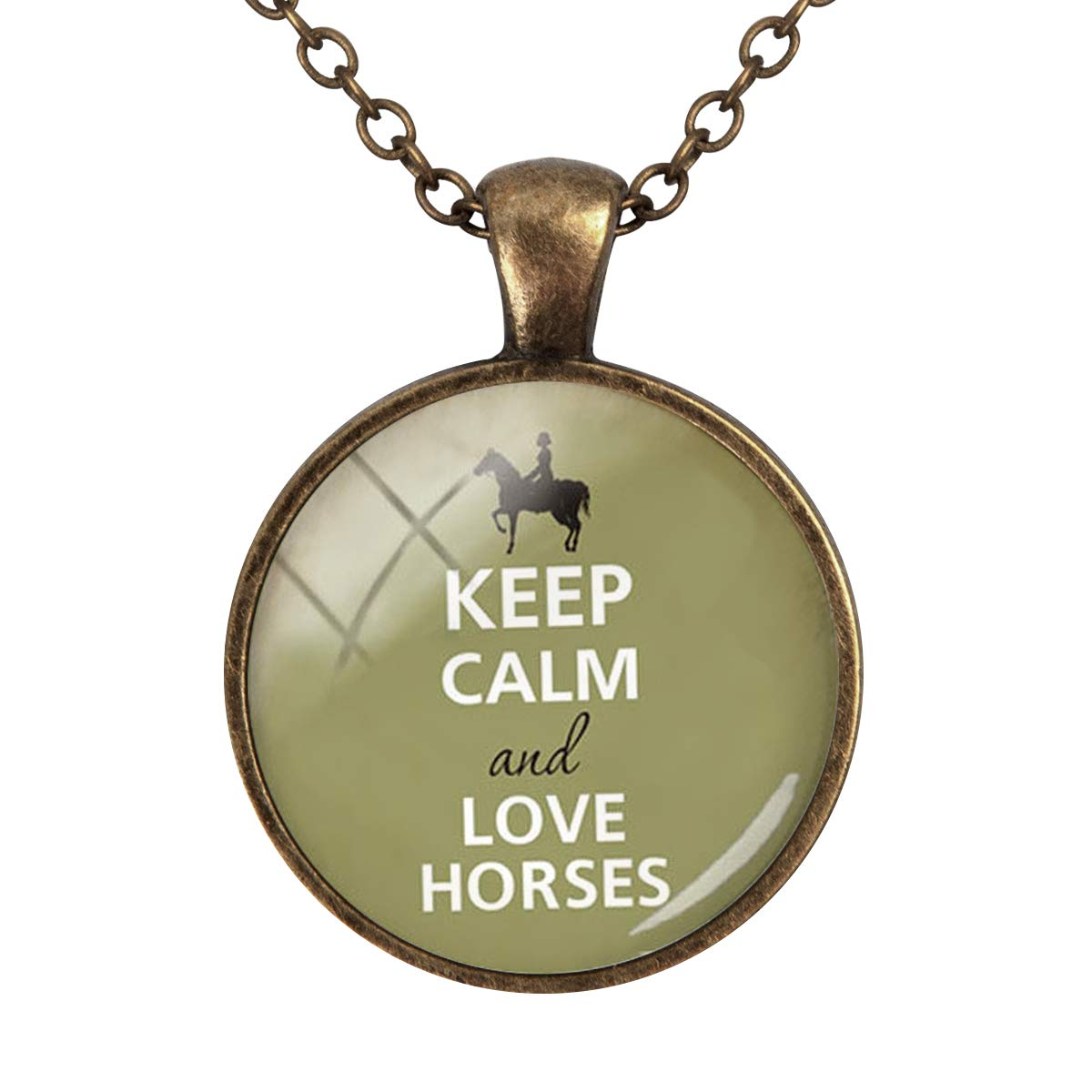 Family Decor Keep Calm and Love Horses Pendant Necklace Cabochon Glass Vintage Bronze Chain Necklace Jewelry Handmade