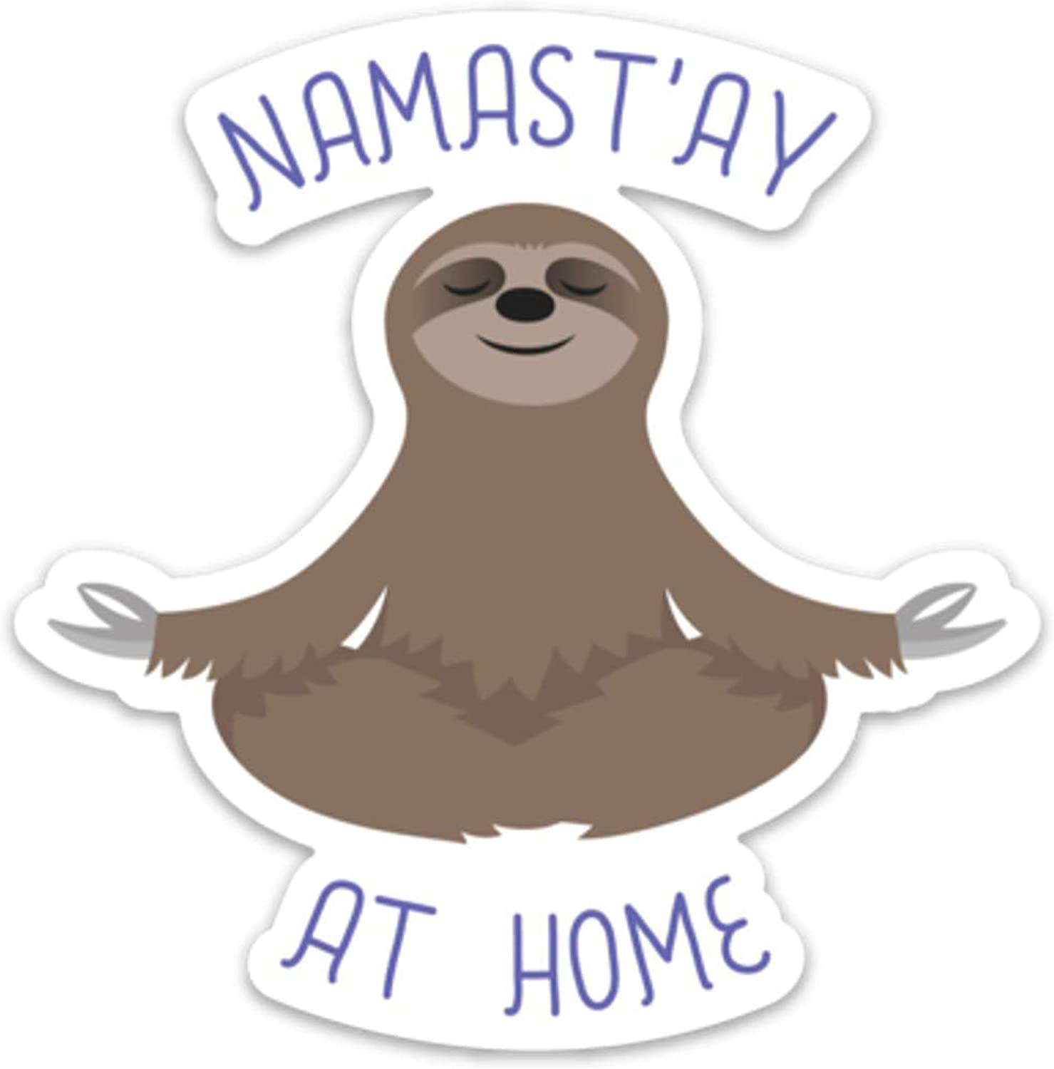 "Sloth Sticker Decal Meditating Namaste at Home 4"" x 4"" Laptop Water Bottle"