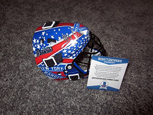 HENRIK LUNDQVIST New York Rangers SIGNED Autographed MINI Goalie Mask w/BAS COA - Beckett -