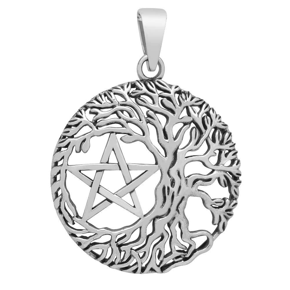 Weltenbaum mit Pentagramm Lebensbaum Yggdrasil Anhänger 925 Silber (Durchmesser 30mm) Steel fpm7302