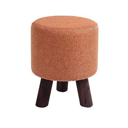 Orange round ottoman Pouf Foot Stool Upholstered Stool Legs Padded Footrest Round Ottoman In Orange Makeup Stool Washable Linen Amazoncom Amazoncom Foot Stool Upholstered Stool Legs Padded Footrest