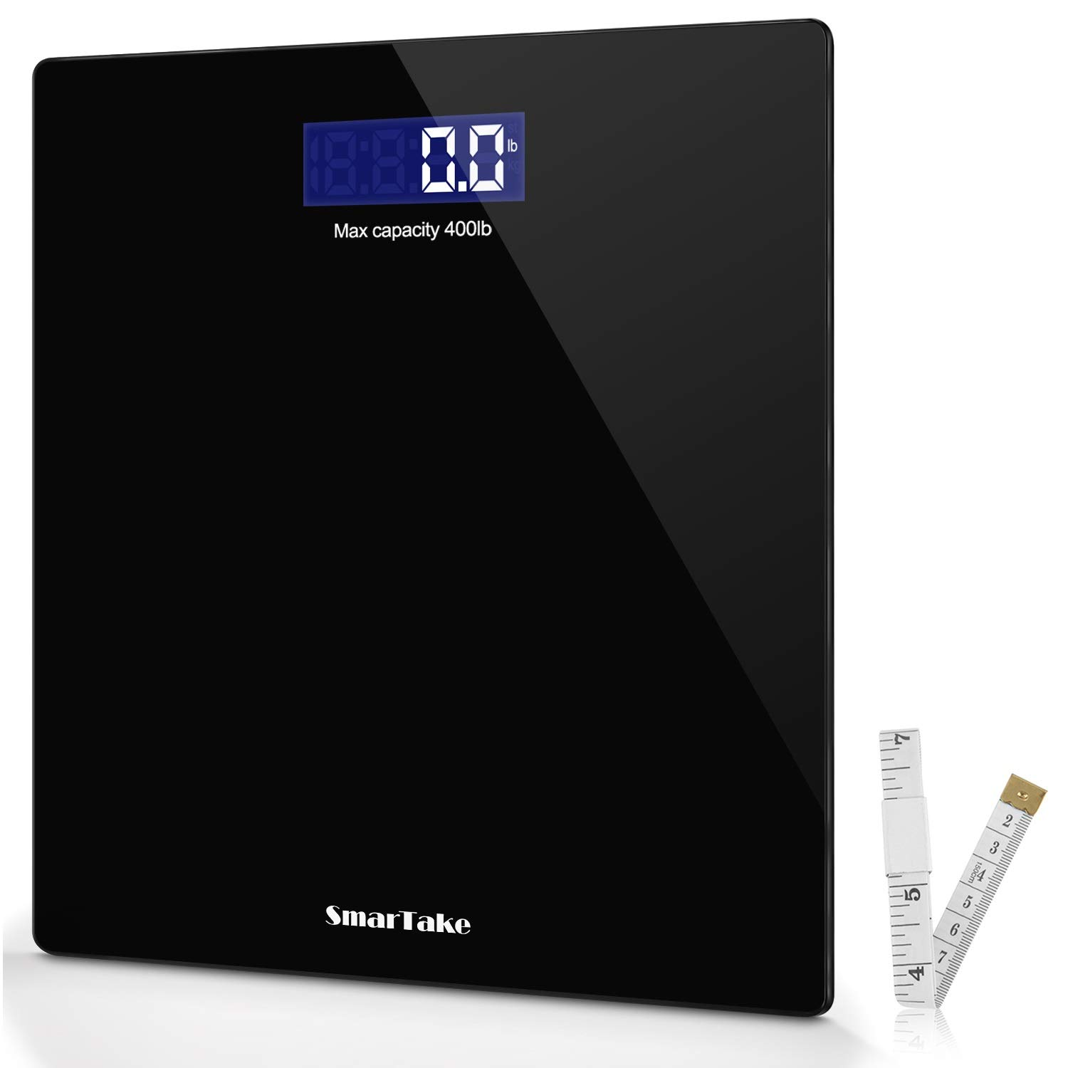 Weight Scale, SmarTake Precision Digital Body Bathroom Scale with Step-On Technology, 6mm Tempered Glass Easy Read Backlit LCD Display, 400 Pounds,Black