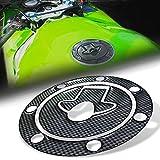 zzr600 carbon fiber - 3D Gas Tank Fuel Cap Cover Protector Pad for Kawasaki Ninja 500R/ZX-6R/7R-11R (Carbon Fiber Look)
