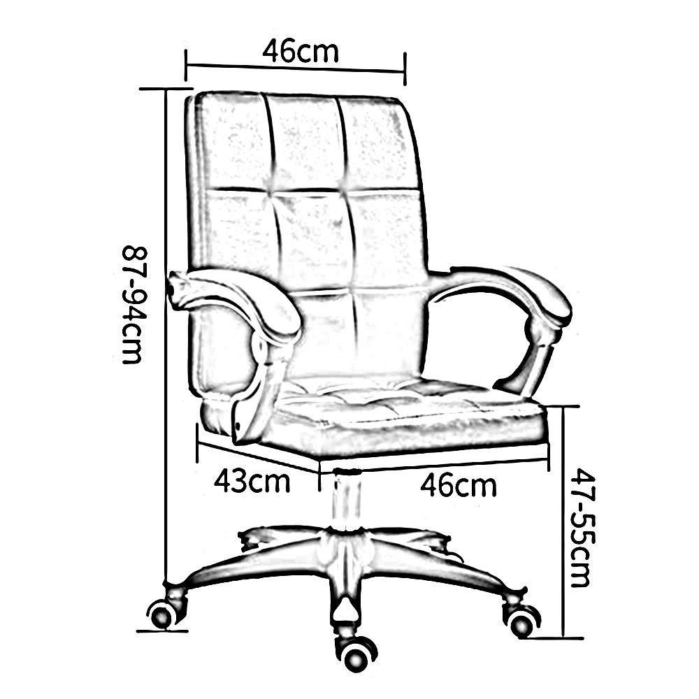 Dalovy bekväm kontorsstol verkställande och ergonomisk svängbar stol justerbar höjd hög rygg PU-läder spelskrivbordsstol för kontor möte rum bärande kapacitet: 150 kg Brun