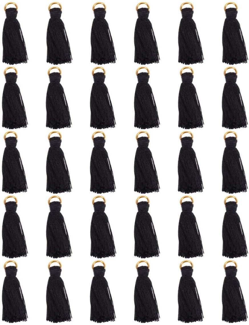 Milisten 30 Piezas de Pequeños Colgantes de Borlas Artesanales Sedosas para Pendientes Joyería Llavero Accesorio para Manualidades con Anillo de Aleación de 3 Cm (Negro)