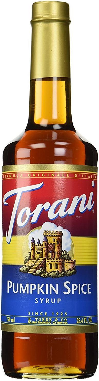 Torani 750ml Pumpkin Spice Flavoring Syrup Premium