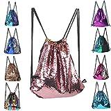 LINGTOM Mermaid Sequin Drawstring Bag Backpack Fashion Dance Party Gym Bags Dancing Shoulder Bag with Pockets, Gold Pink